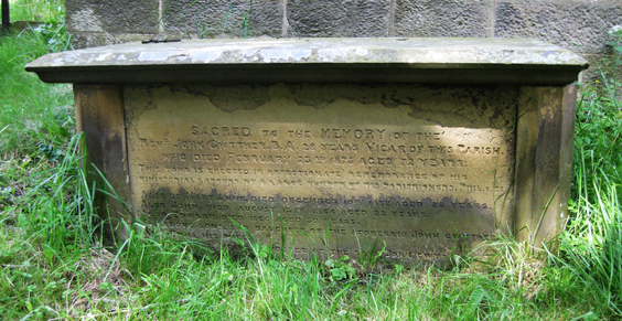 The tomb of John Gwyther, Vicar of Fewston and George Eliot's real life 'Amos Barton'