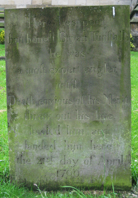 Angling enthusiast Bryan Tunstall's grave, Ripon Cathedral churchyard