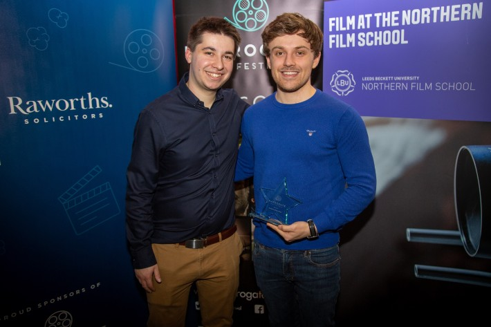 Adam Chandler, Festival Director with Lewis Robinson, winner of thr Audience Choice Award in 2020