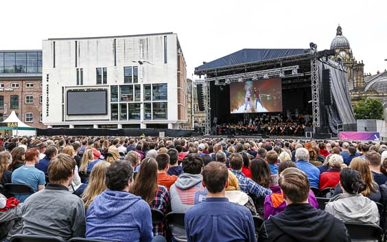 Back to the Future Orchestra of Opera North leeds millennium square stage