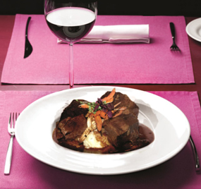 Braised Beef in Red Wine with Roast Garlic Mash