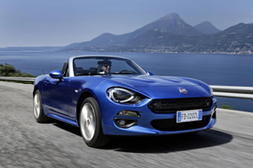 FIAT 124 spider review blue car