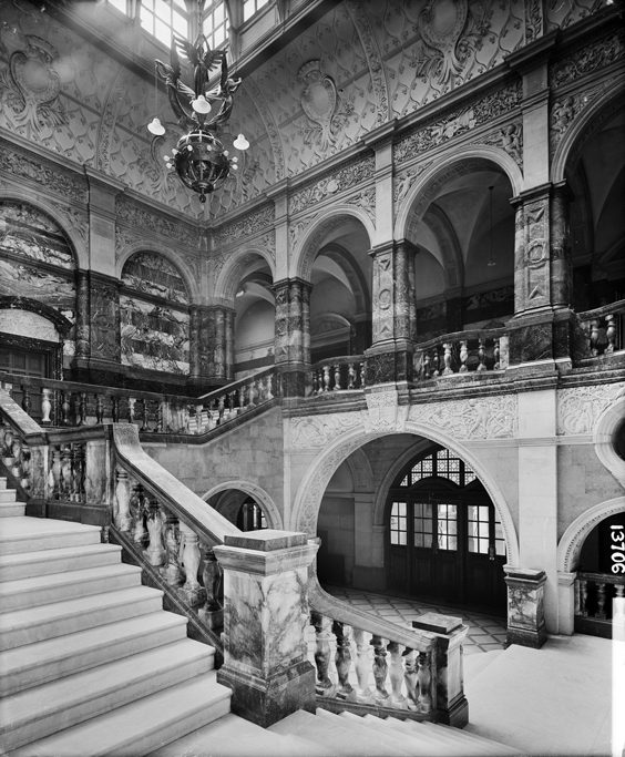 Historic Images of Sheffield City Centre town hall staircase
