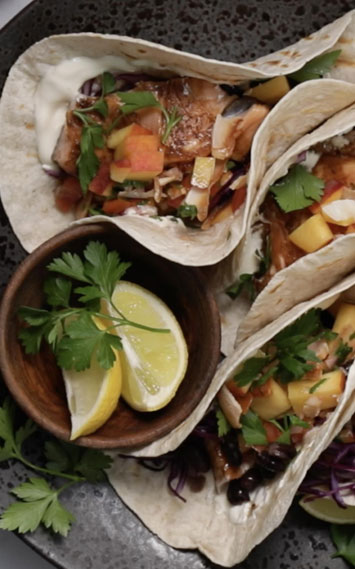 Jerk Salmon Tacos, South African Peach and Toasted Coconut Salsa recipe dish