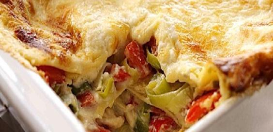 Leek Red Pepper and Cashew Nut Lasagne