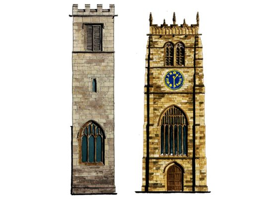 Medieval Church Towers in Yorkshire Cities york bradford