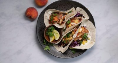 Jerk Salmon Tacos, South African Peach and Toasted Coconut Salsa recipe