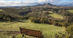 Scottish Borders view from a bench Kelso