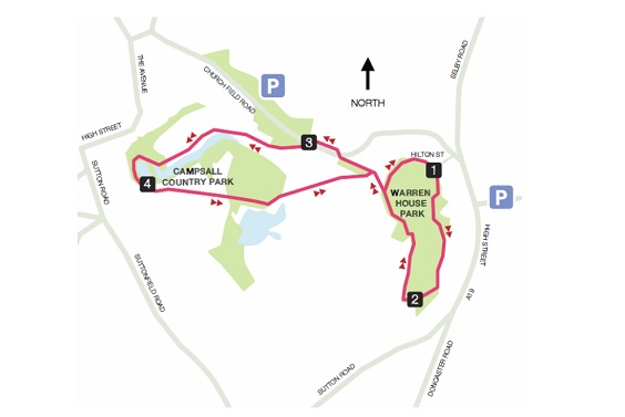 Warren House Park & Campsall country park walk map