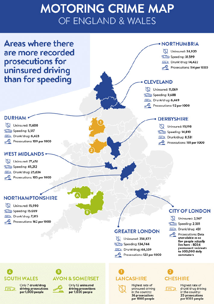 West Yorkshire a Hotspot for Uninsured Drivers infographic