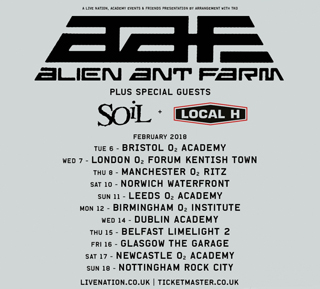 alien ant farm live review leeds o2 academy february poster
