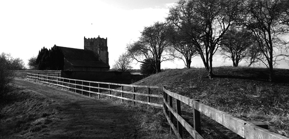 aughton castle yorkshire with church