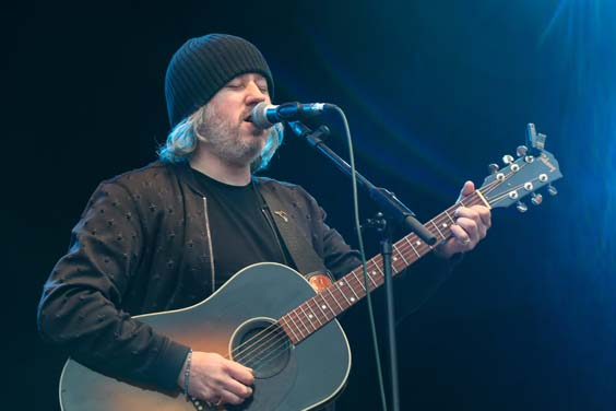 Badly Drawn Boy playing the main stage at Bingley Music Live