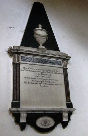 "Memorial in St Andrew's Church, Dent, to the memory of ""John Sill Esq of Providence in the island of Jamaica"""