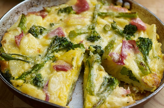 Cheddar Frittata with Ham tenderstem broccoli