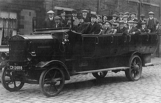 huddersfield trolleys and buses history P17 Although unclear who actually owned this Maudslay charabanc, its inclusion shows the original basic form of motorised passenger transport