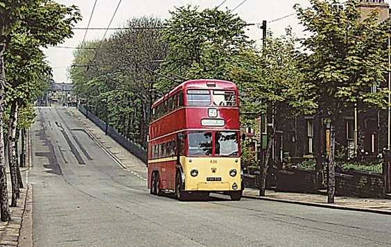 huddersfield trolleys and buses history P38 Service 60 also ran from this area through to Crosland Hill. At Birkby Hall Road trolleybus No. 636 is heading to Birkby, having just passed Norman Park