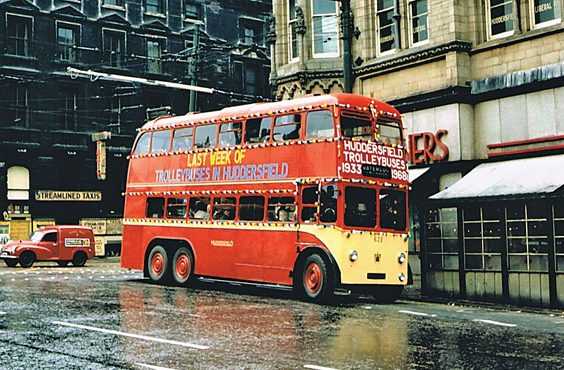 huddersfield trolleys and buses history P45 No. 623 stands in Westgate Huddersfield, bound for Waterloo from Outlane