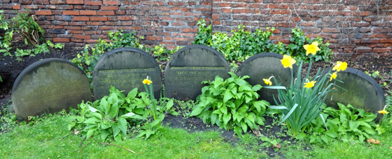 Tuke family graves in the peaceful and secluded Bishophill Quaker Burial Ground.