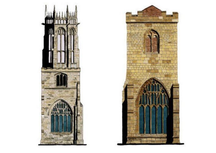 medieval yorkshire church towers duo