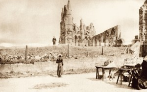 Jet Sellers Outside Whitby Abbey, c,1900