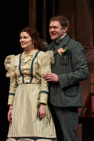 the importance of being earnest review york theatre royal april 2018 Louise Coulthard as Cecily & Thomas Howes as Algernon