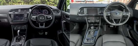 volkswagen tiguan and SEAT ateca compare review inside
