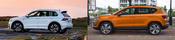 Volkswagen Tiguan and SEAT ateca side by side